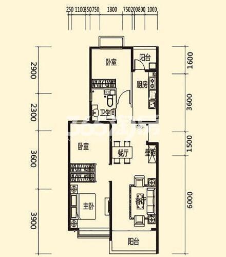 西安恒大雅苑A2户型3室2厅1卫1厨108.78平米
