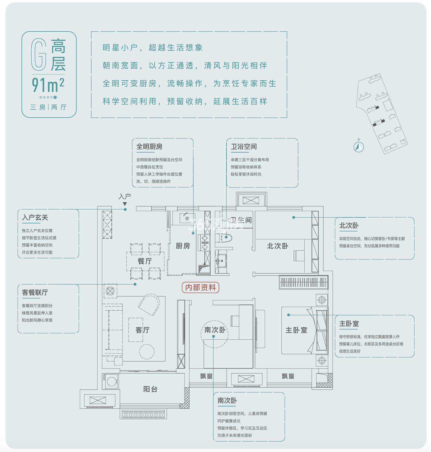 学林雅苑91㎡户型图