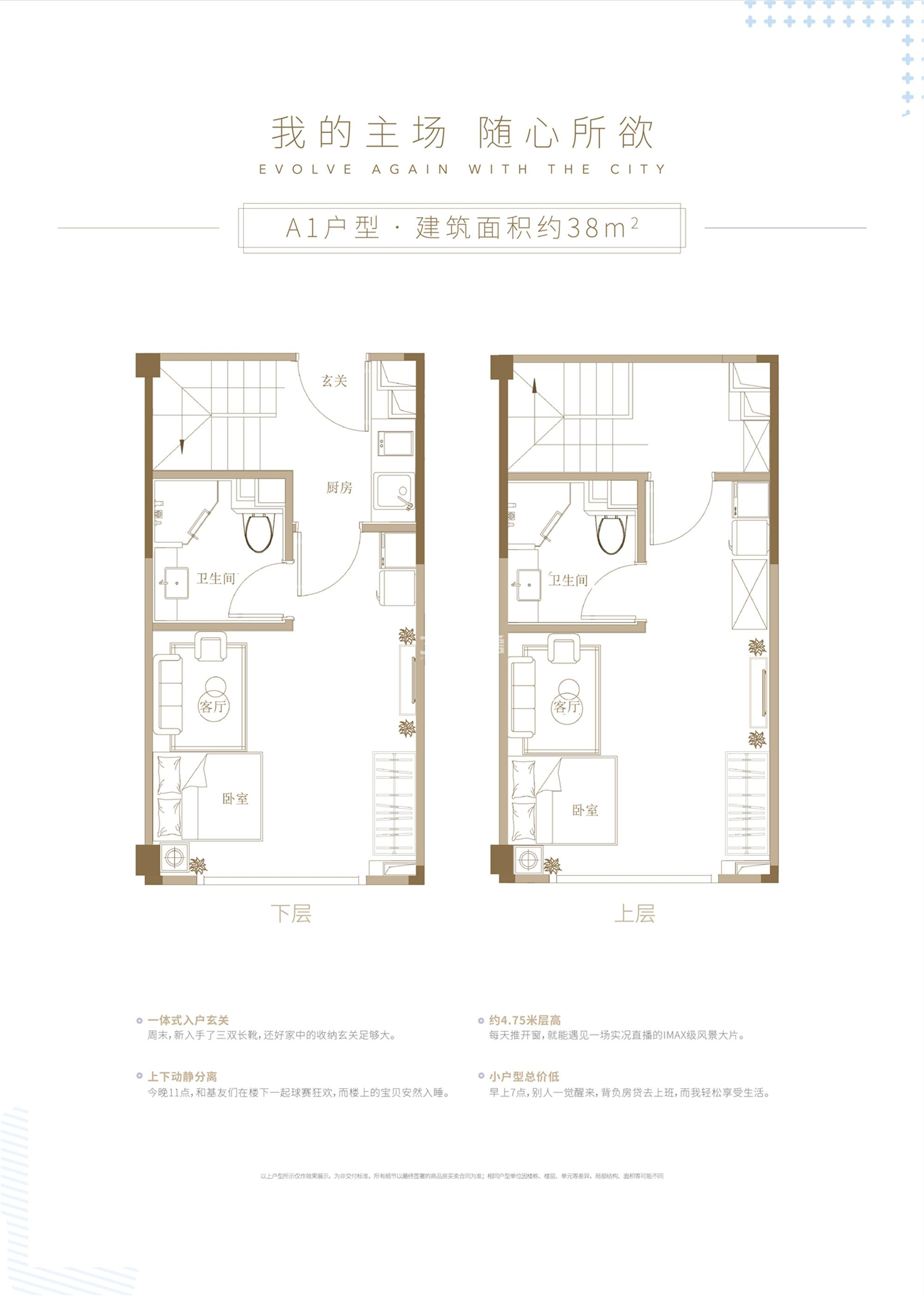 杭州世茂泰禾中央广场A1户型38方双钥匙设计