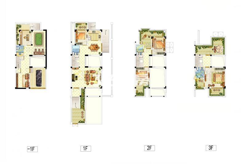 映月华府联排别墅209平户型图