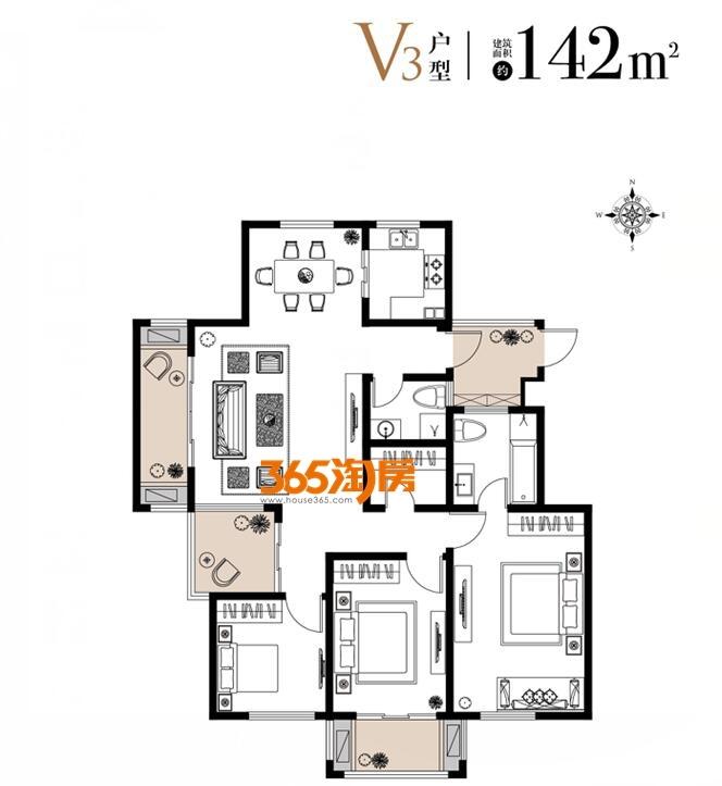 栖霞东方天郡三期洋房V3户型142平户型图