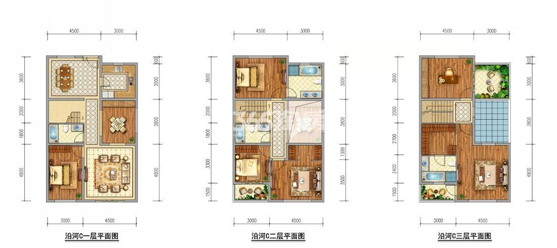 中洲花溪樾合院别墅206平户型图