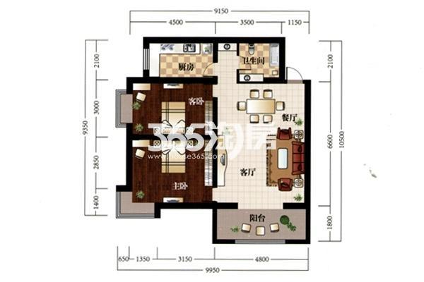 C户型—阳光谷:建筑面积约104㎡ 户型:两室两厅一卫