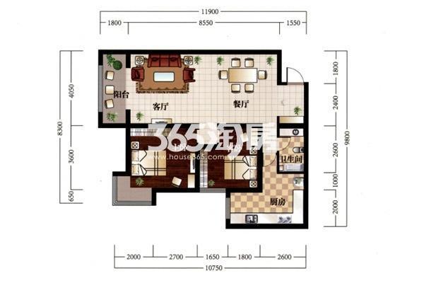 E户型—花园里:建筑面积约112㎡ 户型:两室两厅一卫