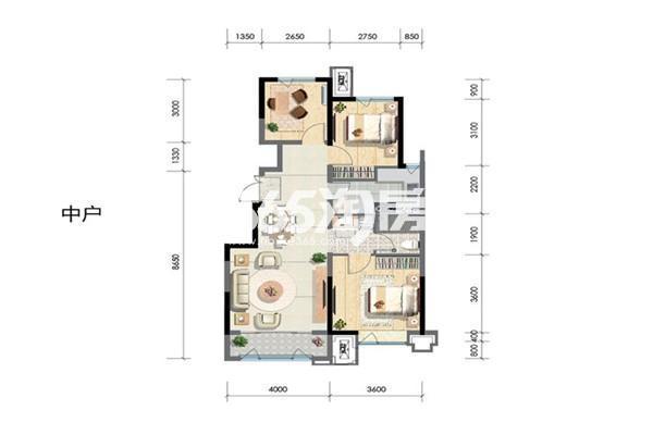 洋房中户97平 3室2厅1厨1卫
