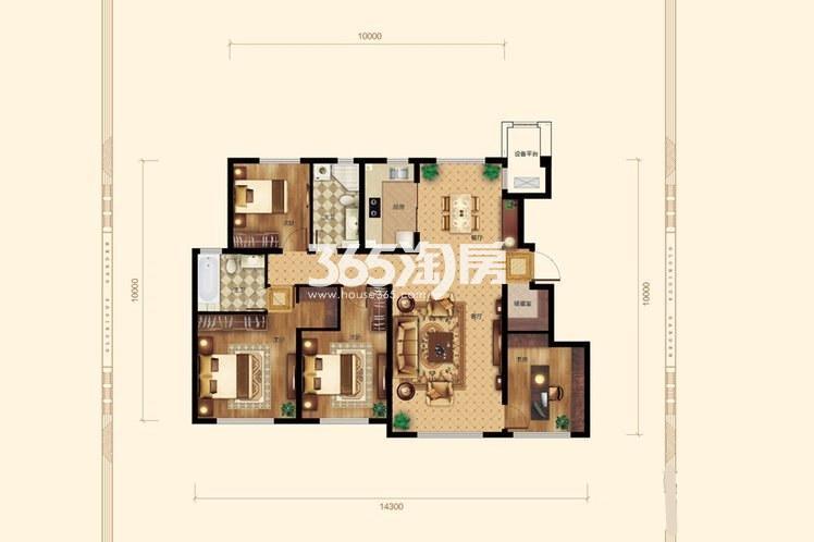 4室2厅2卫1厨144平米