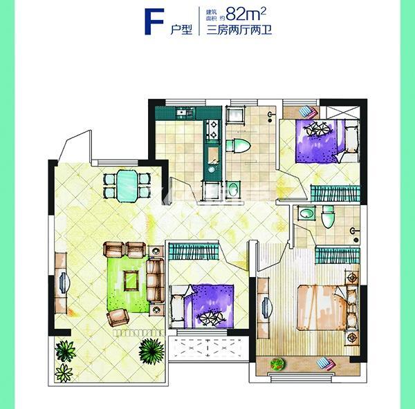 82平米三室两厅一卫