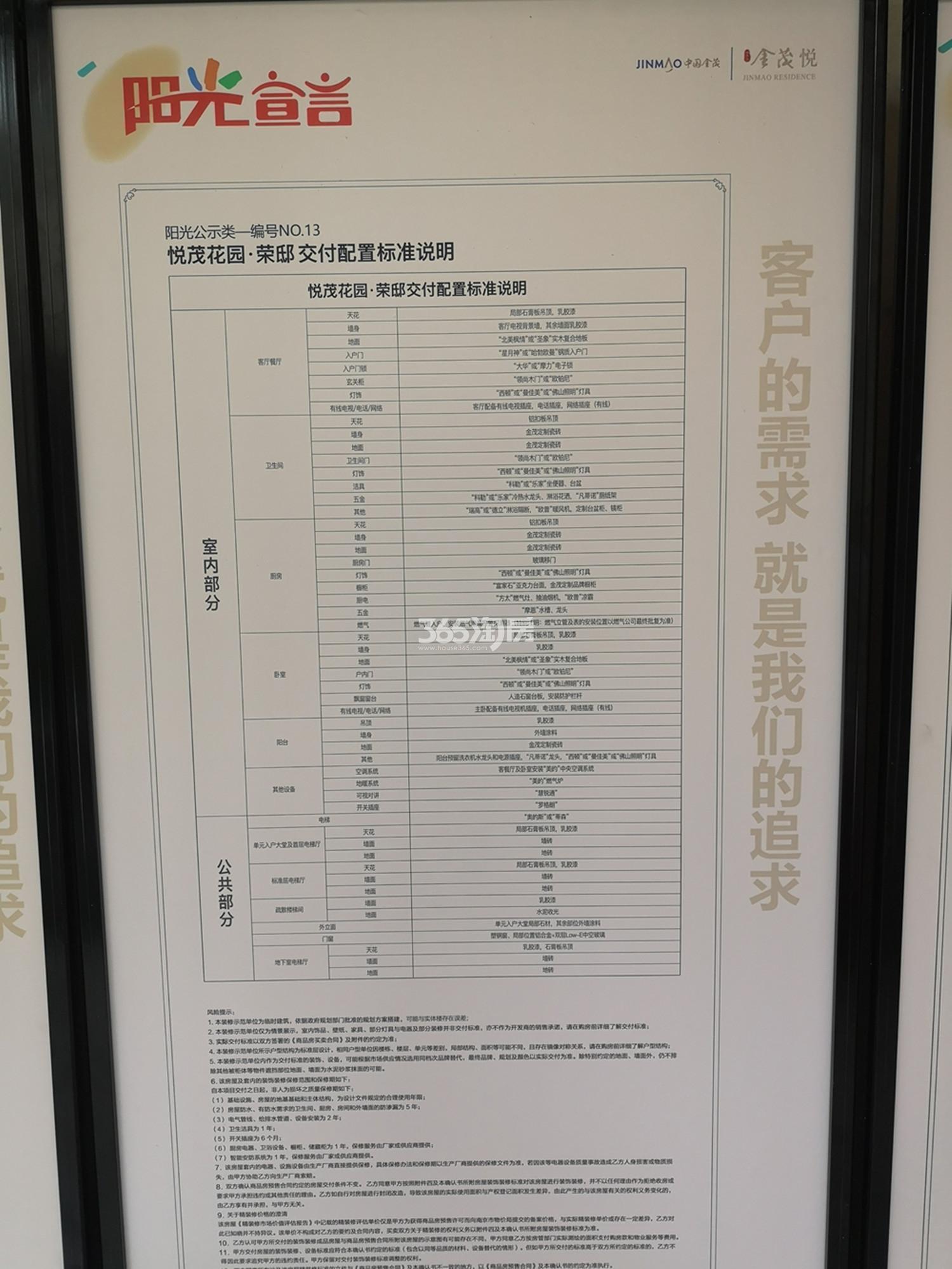 扬子江金茂悦C6地块装修标准公示