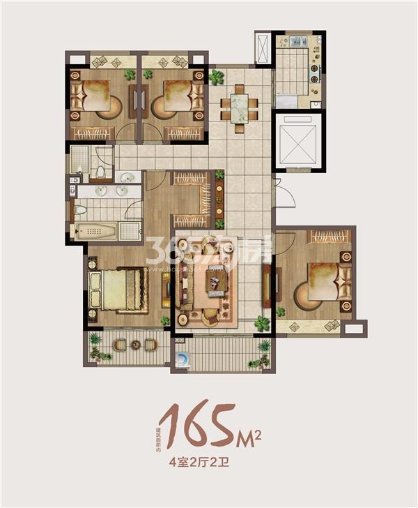 绿地海悦165㎡三室两厅两卫户型