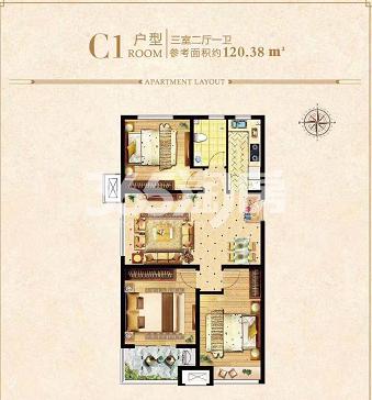 荣盛城四期C1户型120.38㎡三室