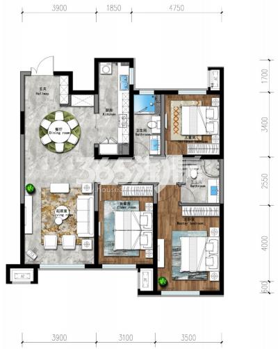 133平 三房两厅两卫