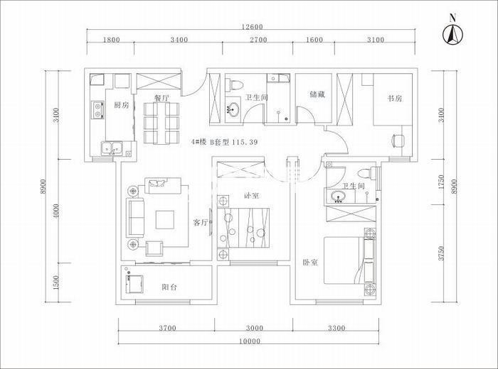 曲江美好时光两室两厅一厨一卫115平米