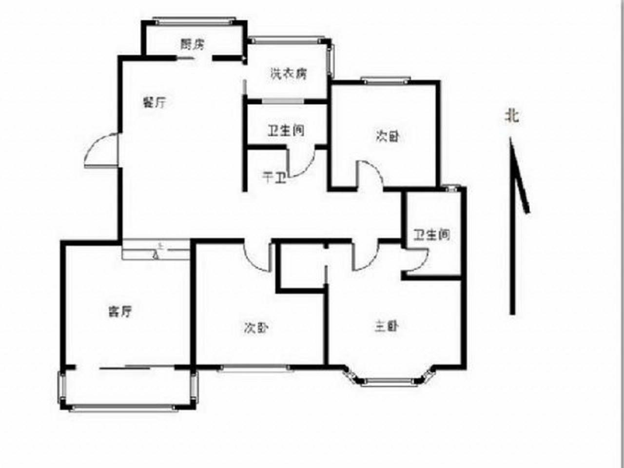 秦淮区朝天宫金鼎湾花园3室2厅户型图