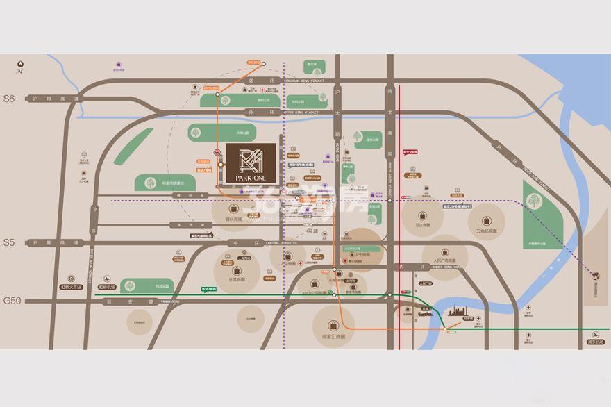 滨江公园壹号交通图