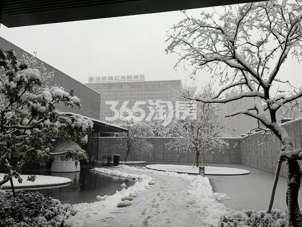 融创信达政务壹号售楼部外雪景及不远处的省立医院南区(2018.2.3)