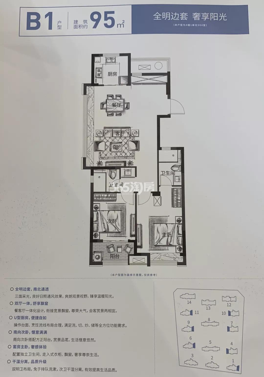 中天观樾诚品B1户型95方(1、4、6、7、9-11#)