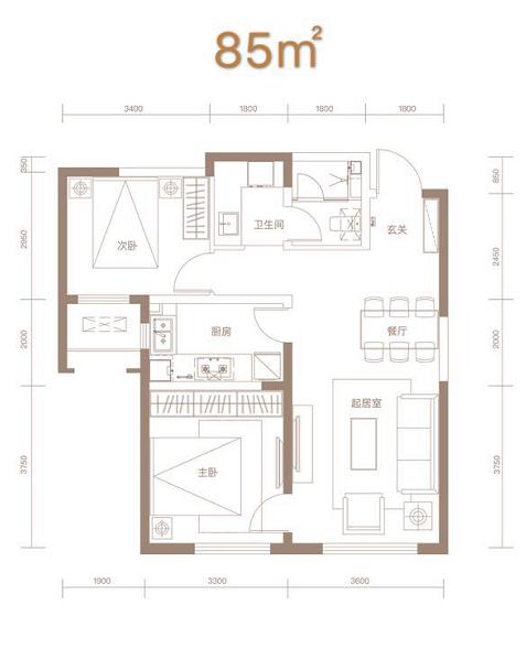 85平米两室两厅一卫