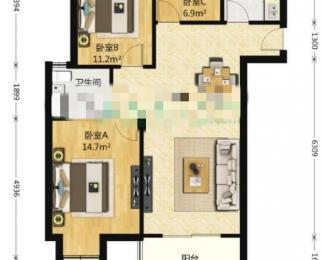 江月府3室2厅1卫107.42平米2016年产权房简装