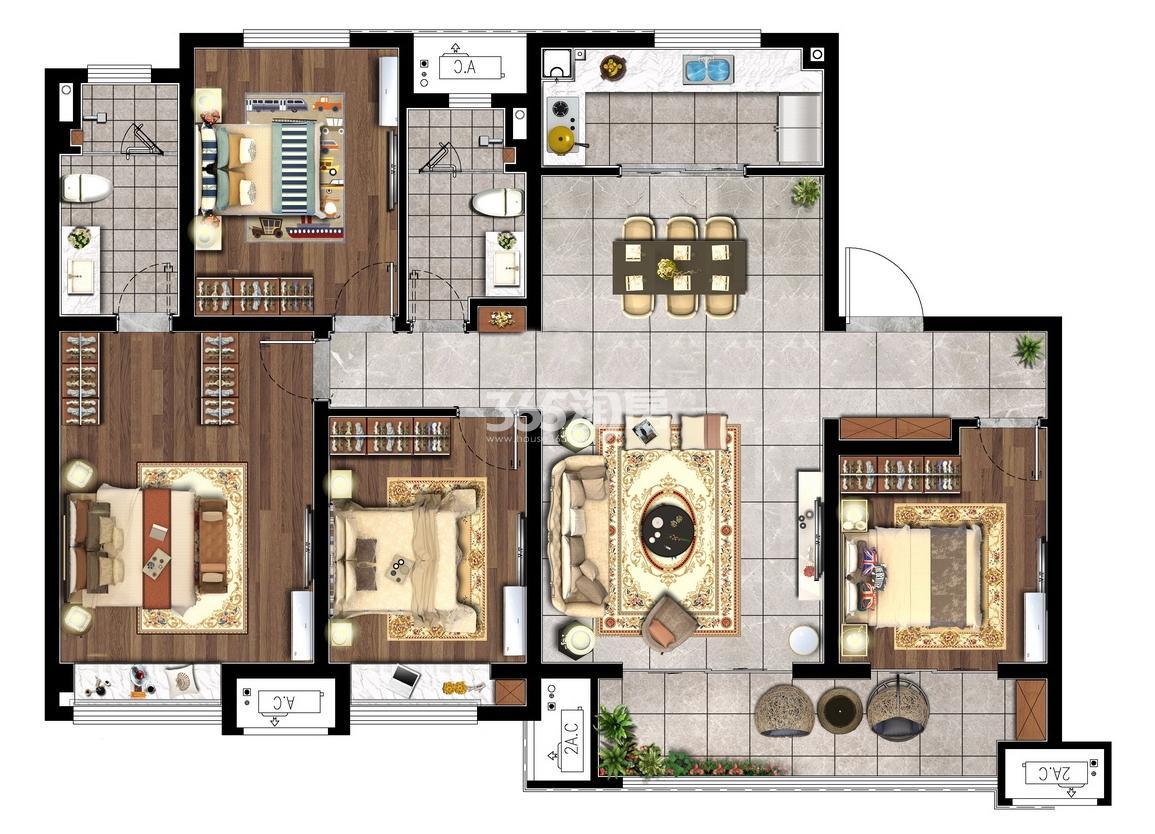 140㎡四室两厅两卫