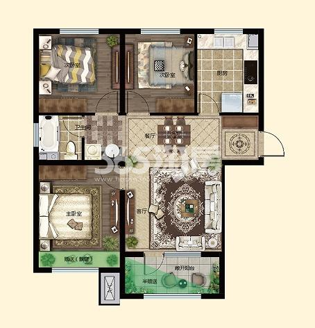 三室两厅一卫95.59㎡