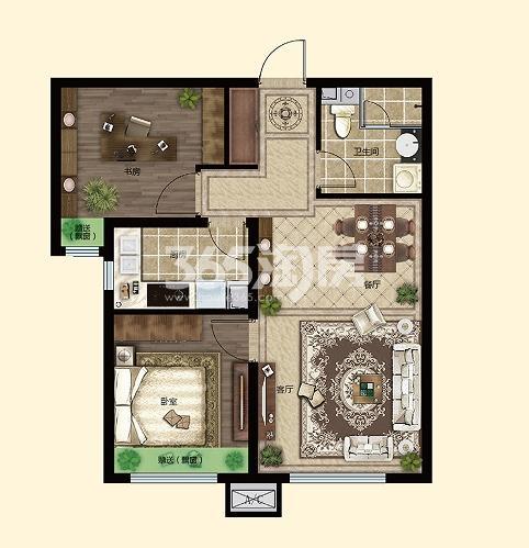 两室两厅一卫75.56㎡