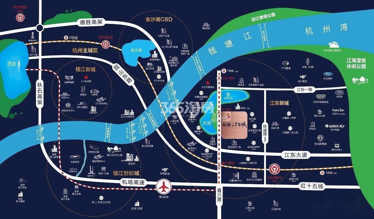 龙湖江与城交通图