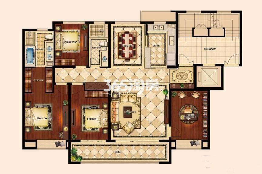 洋房19、20、23、24#E1户型