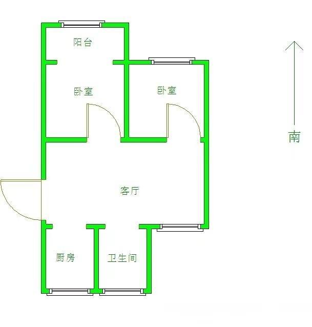 六合区西厂门街道南钢六村2室1厅户型图