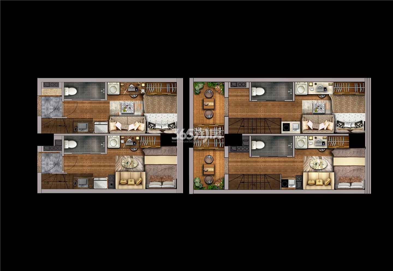 金轮峰华4.8米挑高四钥匙公寓户型图52㎡