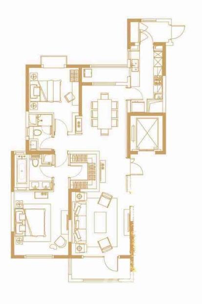 海玥名都2室2厅2卫140平米精装产权房2018年建