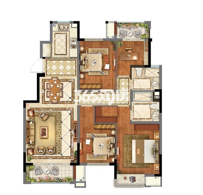 融创玉兰璟园高层132平户型图