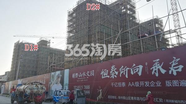 恒泰山水文园工地D1、2#楼工程进度实景图(12.25)