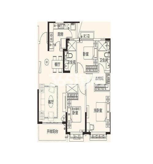 恒大翡翠龙庭10#楼02户3室2厅2卫1厨130平米