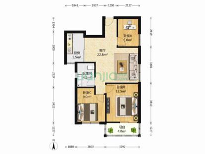 莲花新城嘉园3室2厅1卫89平米精装产权房2014年建