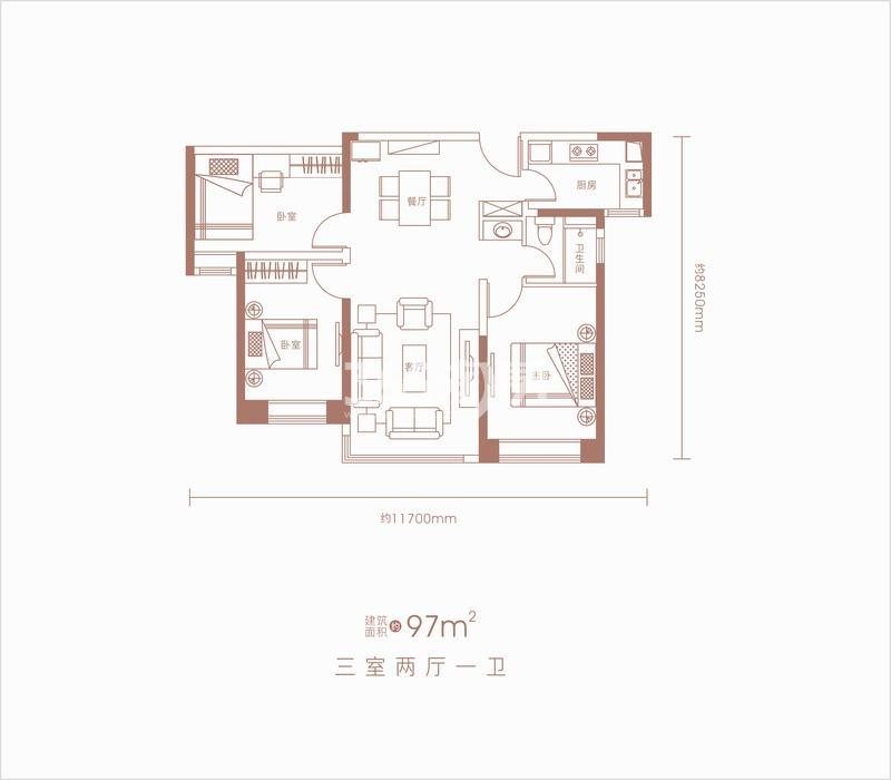 卓越坊97㎡三室两厅一卫户型图