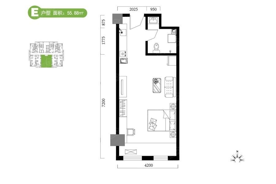 E户型55.88平米 1是1厅1卫