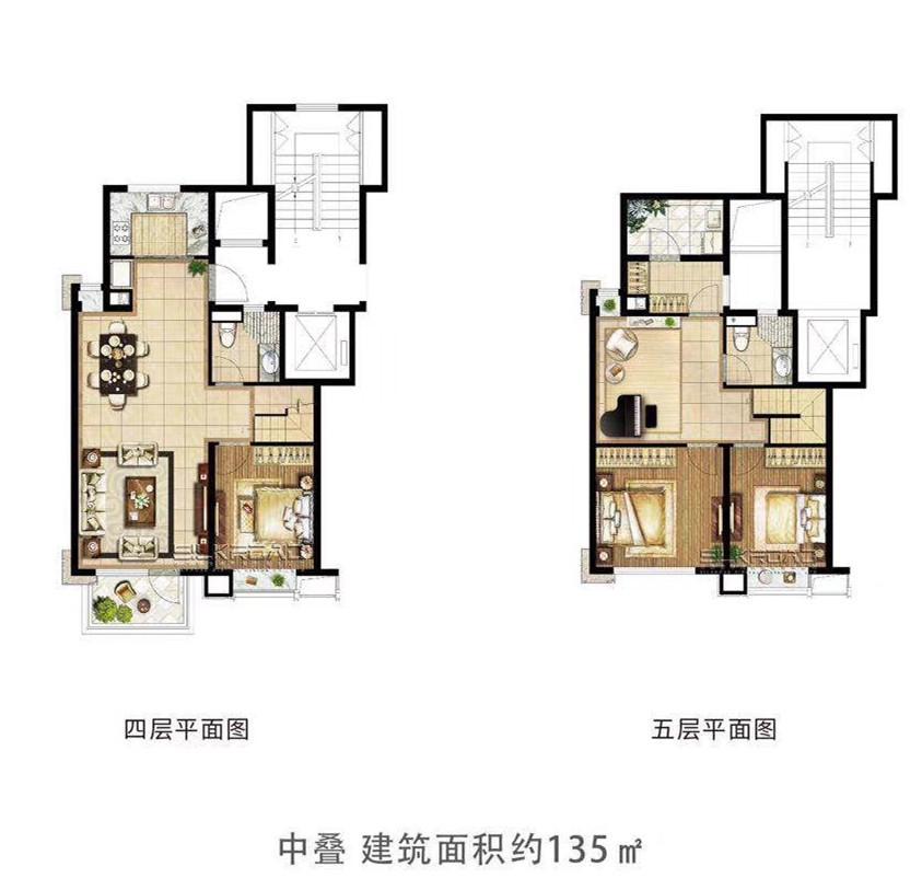 悦风华中叠户型图135㎡(4、5F)