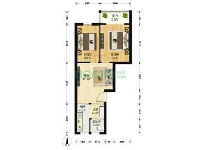 凤凰西街188号2室2厅1卫62平米1998年产权房精装
