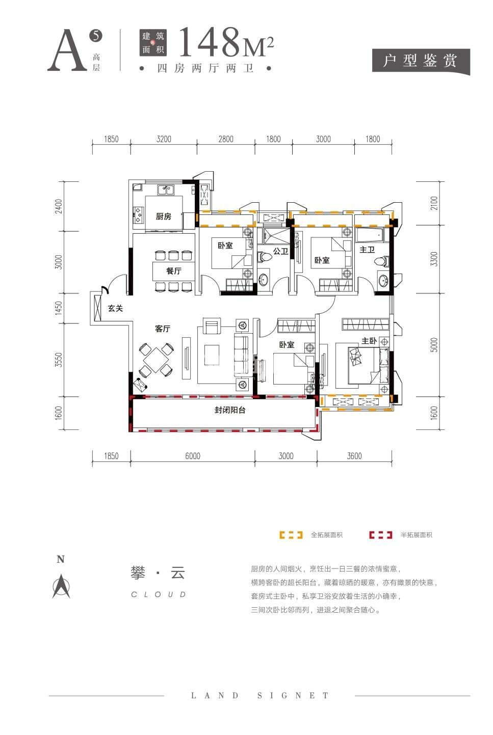 山河印148㎡A5四房两厅两卫高层户型图