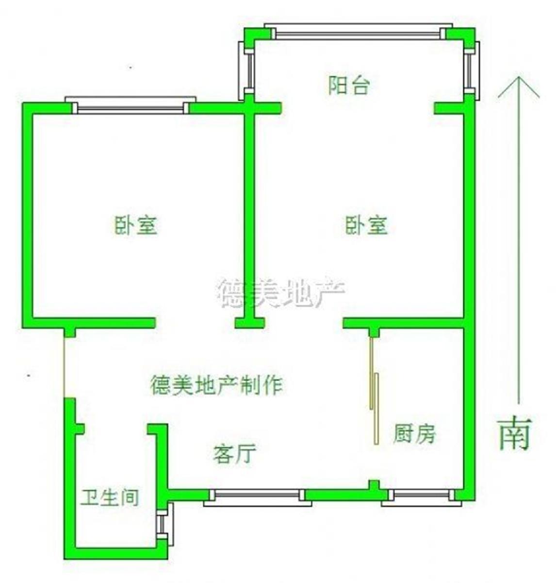 六合区西厂门街道新华六村2室1厅户型图