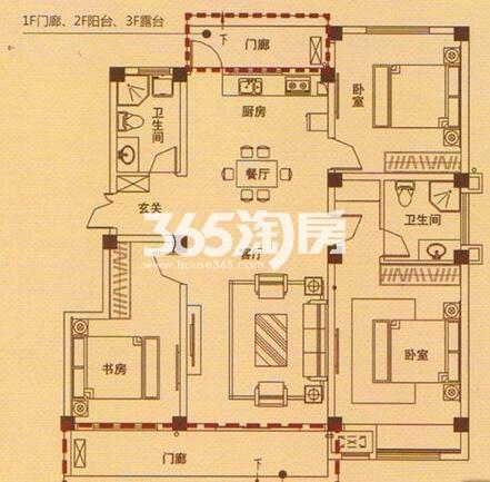 4Y户型 3室2厅2卫1厨
