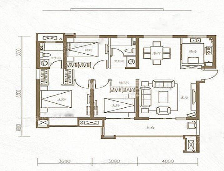 金地中心风华三室两厅126㎡户型图