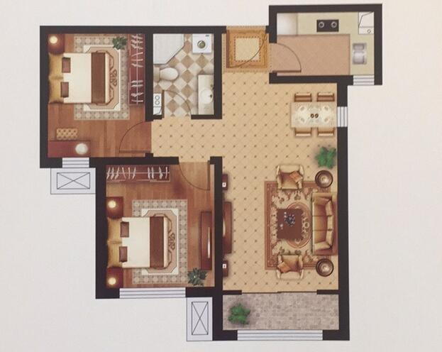 B'户型 88㎡ 两室两厅一卫