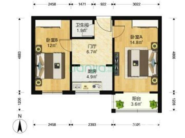 天辰公寓2室1厅1卫53.16平米1990年产权房中装