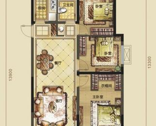禹洲中央城3室2厅1卫108平方产权房毛坯