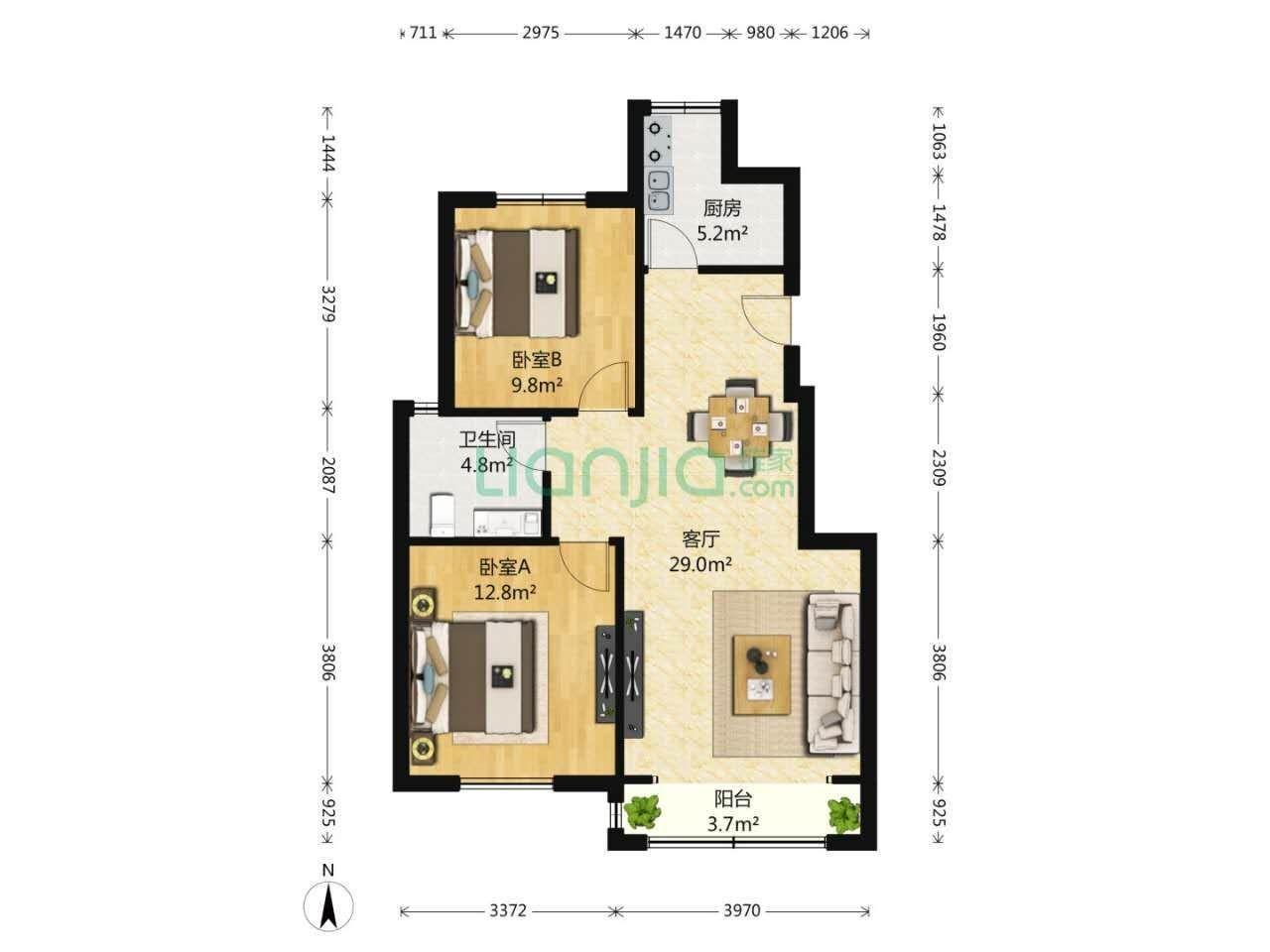 首创城2室2厅1卫95.05平米2014年产权房中装