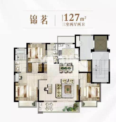 富力运河十号锦茗127平户型图