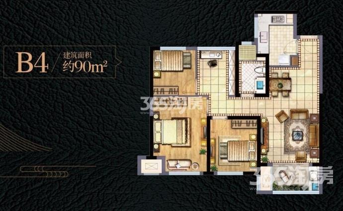 新城香悦澜山  3室2厅1卫89.68平方产权房毛坯