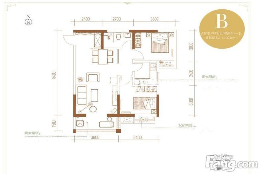丽苑山水A座B户型两室两厅一卫90.02㎡