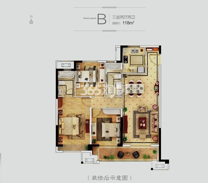 丽景府B户型118㎡三室
